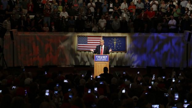 Trump at a rally at The Palladium in Carmel, Indiana