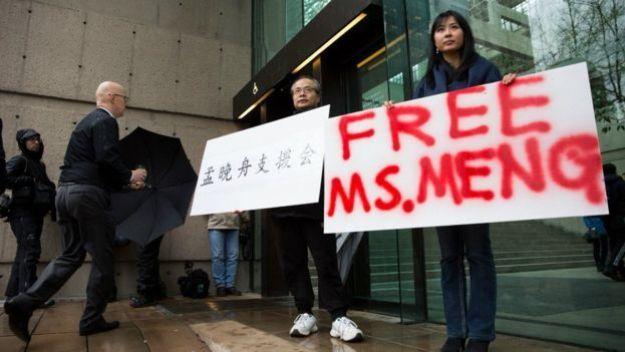 Defensores de Meng Wanzhou en Vancouver, Canadá