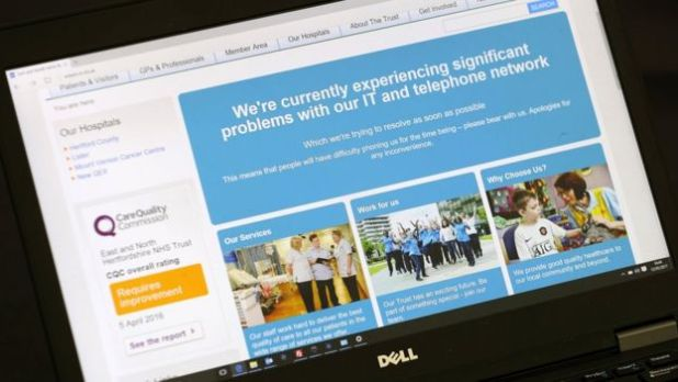 Pantalla de la web del NHS