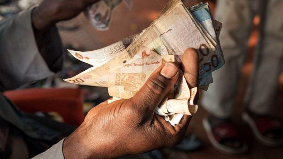 Someone holding Sudanese money