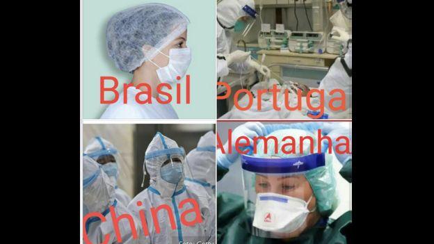 Imagem divulgada em redes sociais compara equipamentos de proteção para profissionais de saúde no exterior e no Brasil