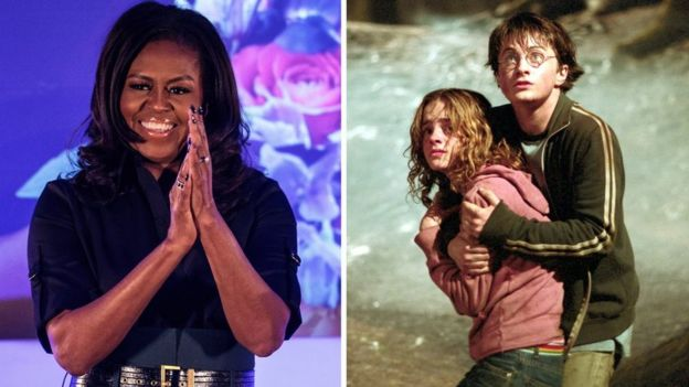 Michelle Obama, and a still from Harry Potter and the Prisoner of Azkaban