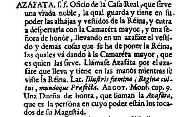 Definición de azafata en el diccionario de 1726 del Nuevo tesoro lexicográfico de la lengua española (NTLLE)