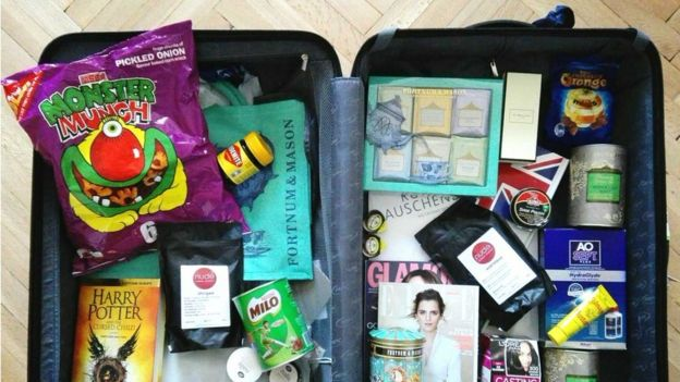 A suitcase full of products