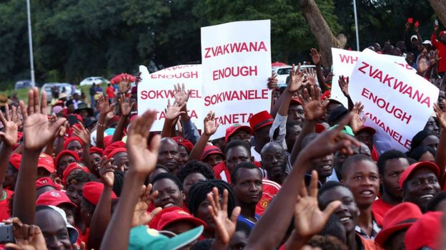 Supporters of the opposition party Movement for Democratic Change (MDC-T) gather during a protest against poverty and corruption, in Harare, Zimbabwe, 14 April 2016