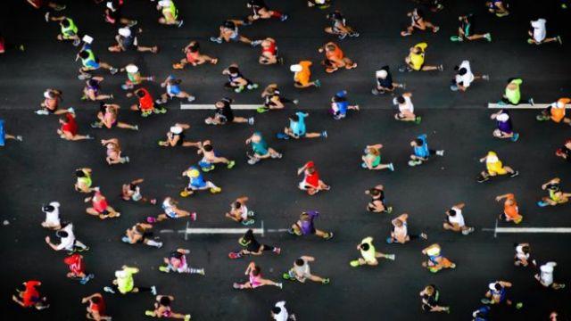 vista aérea de uma corrida