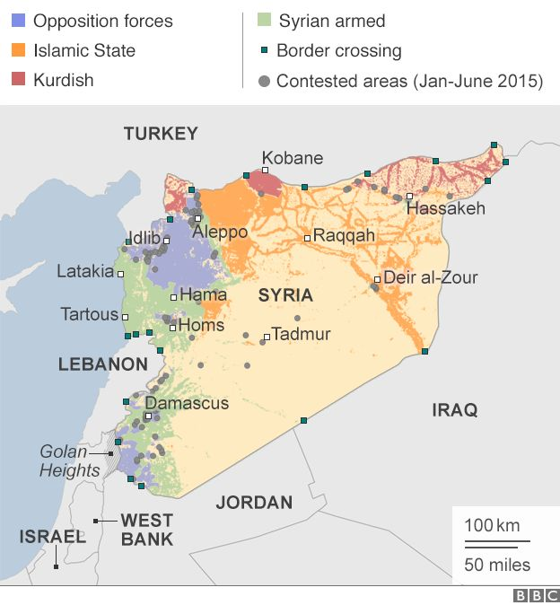 Map showing territorial control in the Syrian conflict
