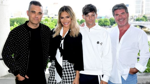 Robbie Williams, Ayda Field, Louis Tomlinson and Simon Cowell