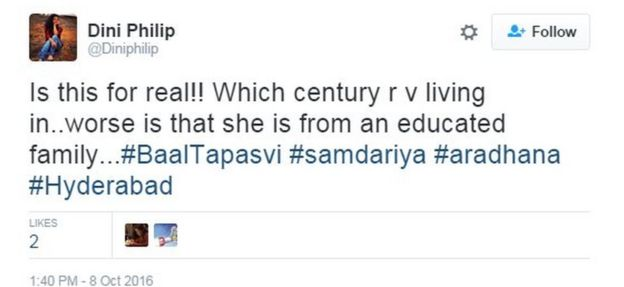 Is this for real!! Which century r v living in..worse is that she is from an educated family...#BaalTapasvi #samdariya #aradhana #Hyderabad