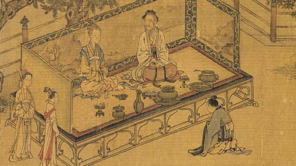 Detail from painting showing familial piety produced during the Chinese Song dynasty