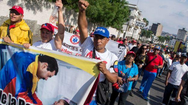 Manifestación de partidarios de Nicolás Maduro este jueves en Caracas.