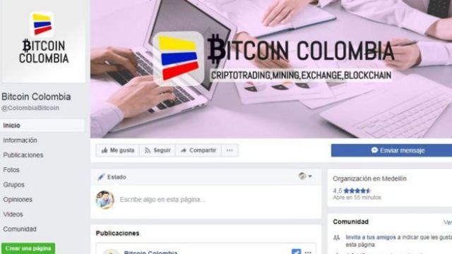 """Página de Facebook """"Bitcoin Colombia"""". Foto: Facebook."""