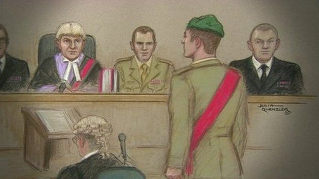 Julia Quenzler drawing of Sergeant Blackman being sentenced