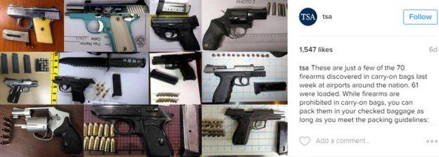 Pistolas confiscadas por la TSA