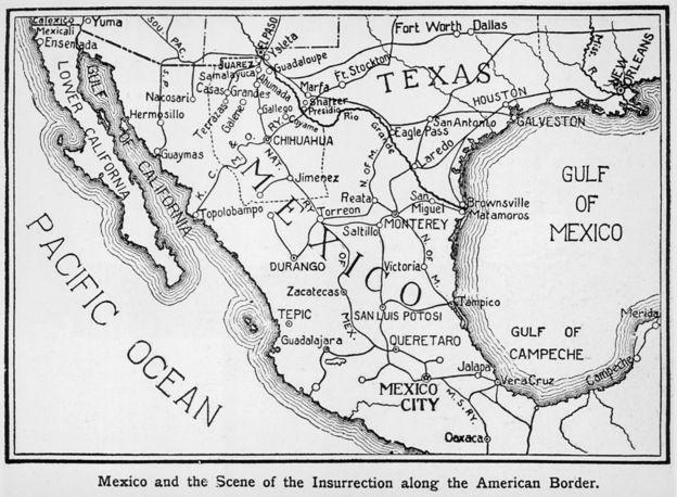Un mapa de la zona fronteriza entre México y EE.UU. en 1911