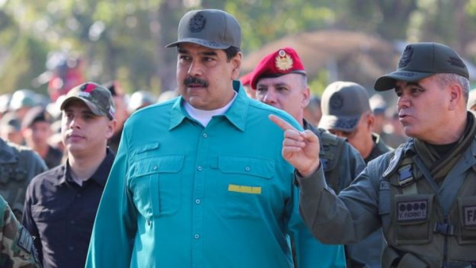 Venezuela's President Nicolas Maduro and Venezuelan Minister of Defence Vladimir Padrino (R), during military exercises at Fort Paramacay, in Carabobo, Venezuela, 27 January 2019