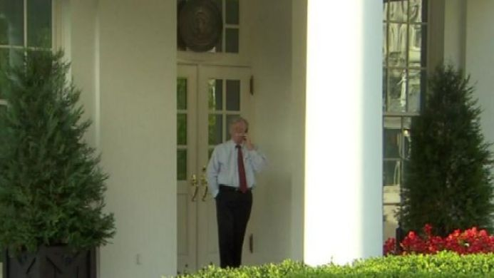 John Bolton was pictured outside the White House on Tuesday morning just before his departure