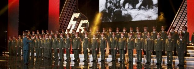 The Alexandrov Ensemble perform in Moscow, Russia 31 March 2016