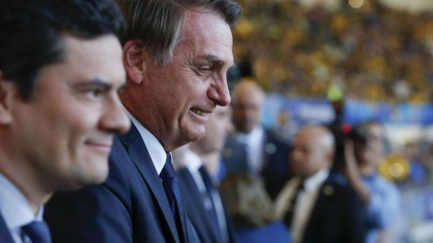 Sergio Moro e Jair Bolsonaro na final da Copa América