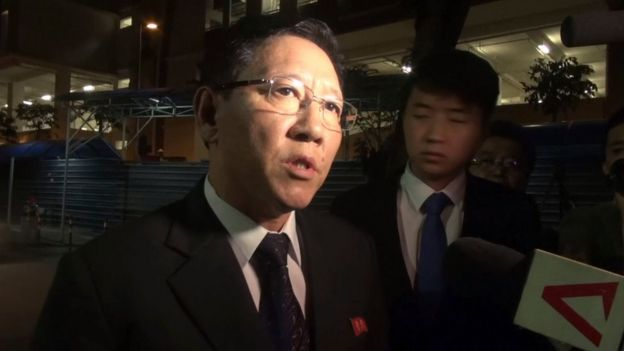In this image made from video, North Korean Ambassador to Malaysia Kang Chol speaks to the media gathered outside the morgue in Kuala Lumpur, Malaysia, Friday, 17 February 2017.