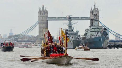 Royal River Salute sails under Tower Bridge