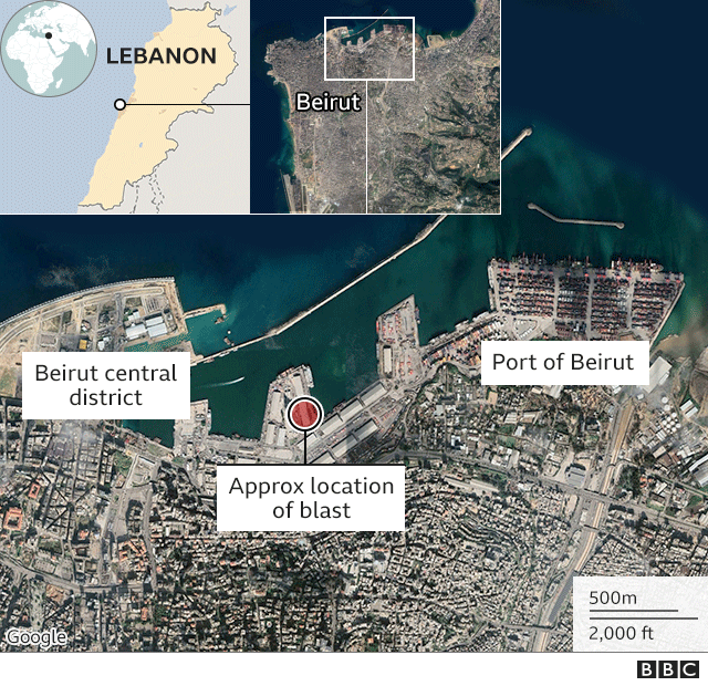 Map showing location of blast in Beirut