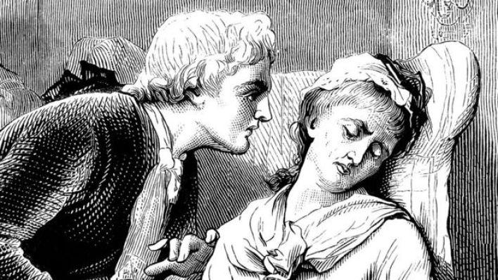 رجل يرعى امرأة مريضة