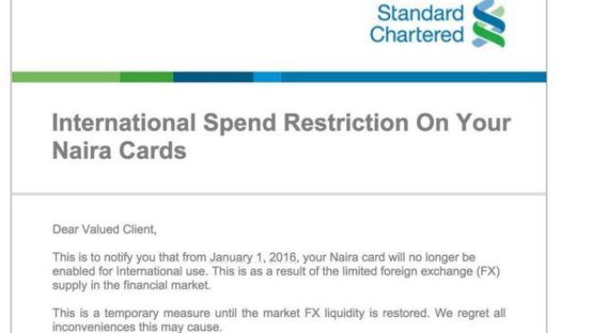Standard Chartered announcement
