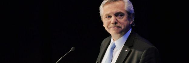 Alberto Fernández participates in a presidential debate