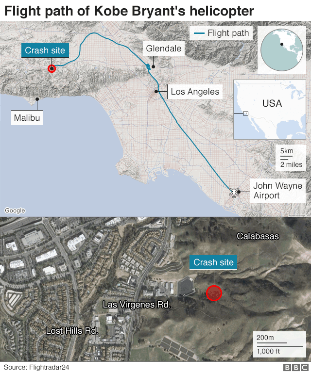 Map of Kobe Bryant's helicopter's flight path