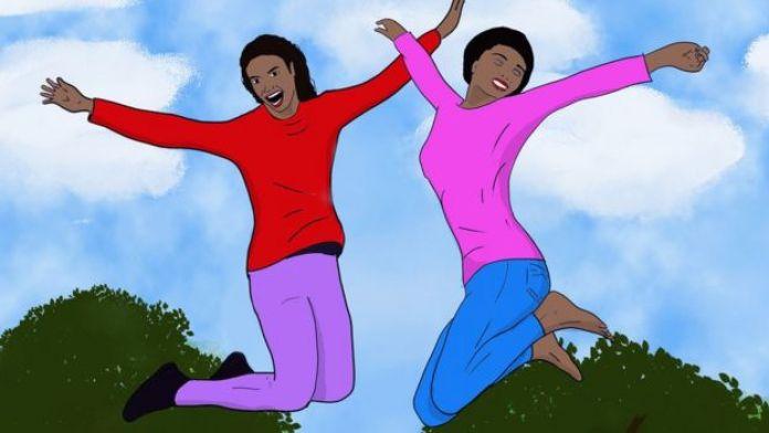Ilustración de dos mujeres saltando.