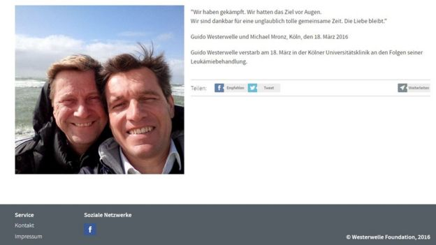 Photo and image released by Westerwelle Foundation to announce the death of Guido Westerwelle
