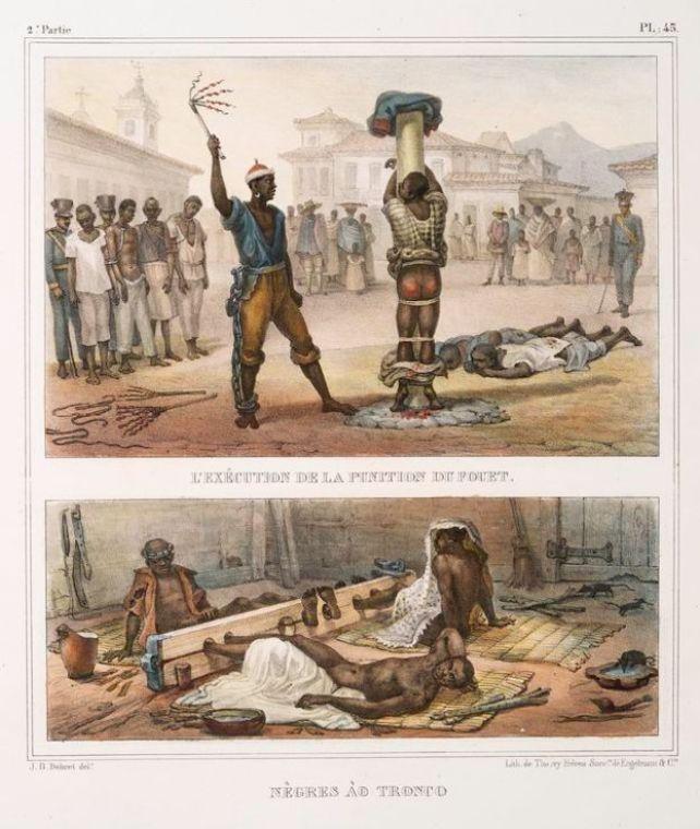 Duas ilustrações de violência contra escravos; na imagem do alto, um açoite a escravo amarrado em tronco, com nádegas ensanguentadas; na imagem de baixo, escravos com os pés presos em uma plataforma de madeira