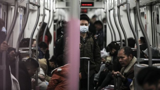 A man wears a mask on the subway on January 22, 2020 in Wuhan, Hubei province, China