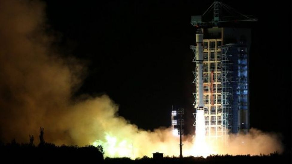 The Long March-2D rocket launching from the Jiuquan Satellite Launch Centre in Jiuquan, Gansu Province, 16 August 2016.