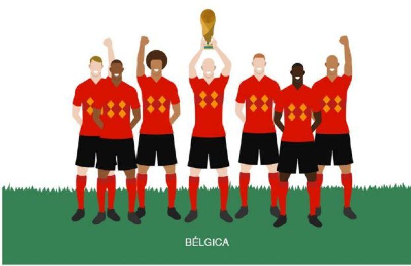 ilustração com jogadores da Bélgica