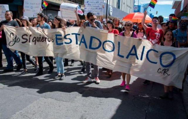 Manifestación a favor del Estado laico en San José, Costa Rica, el 20 de enero de 2018.