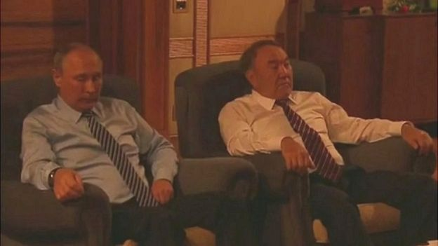 Presidents Vladimir Putin (left) and Nursultan Nazarbayev watch Panfilov's 28 Men