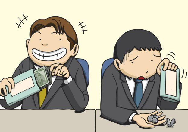 Ilustración de jefe y empleado recibiendo diferentes cantidades de dinero
