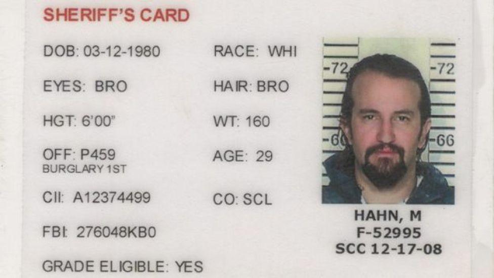 Documento de arresto de Matt Hahn