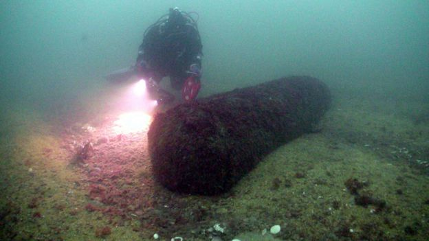 The 'parachute mine' was found 800m off shore