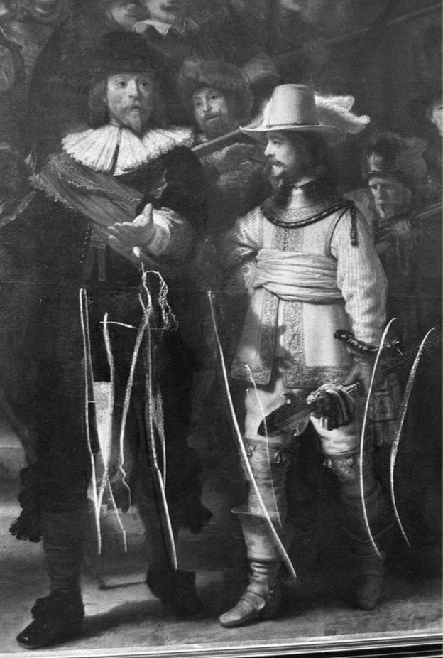 """""""La Ronca Nocturna"""" sufrió graves daños en 1975, cuando un hombre atacó la pintura con un cuchillo e infligió 12 cortes en el lienzo."""