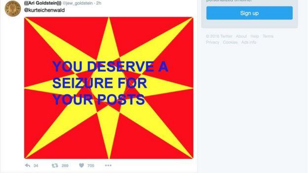 Twitter usuários do twitter estão recebendo imagens que causam surtos epilépticos