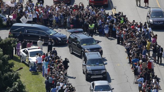Hearse leaves the funeral home - 10 June