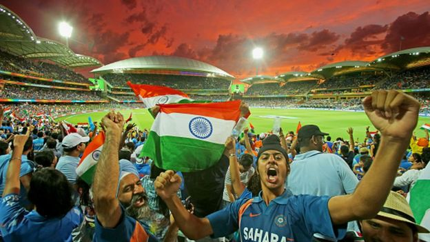 : A general view as Indian fans in the crowd celebrate as a Pakistan wicket falls during the 2015 ICC Cricket World Cup match between India and Pakistan at Adelaide Oval on February 15, 2015 in Adelaide, Australia.