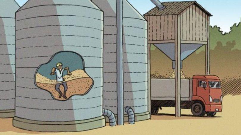 Ilustração mostra trabalhador sendo sugado por pilha de grãos