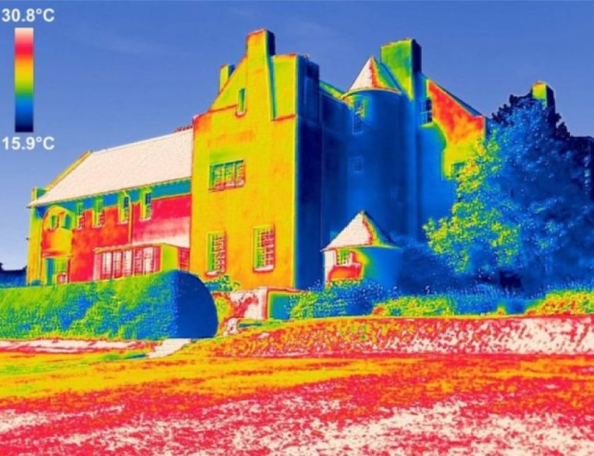 Infra-red thermographic images show the extent of damp and water damage