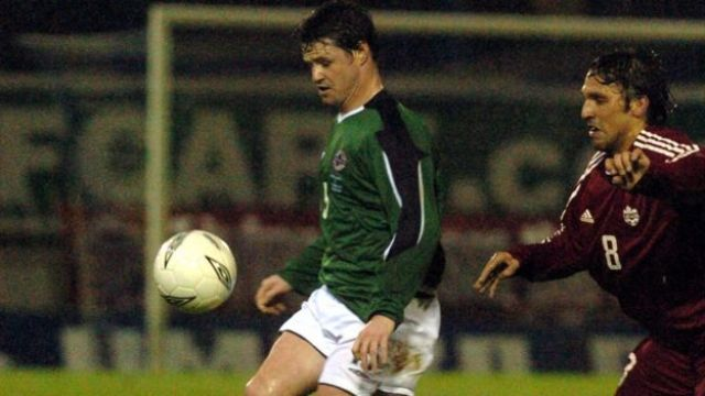 Philip Mulryne playing for Northern Ireland