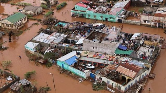 Casas devastadas pelo ciclone Idai