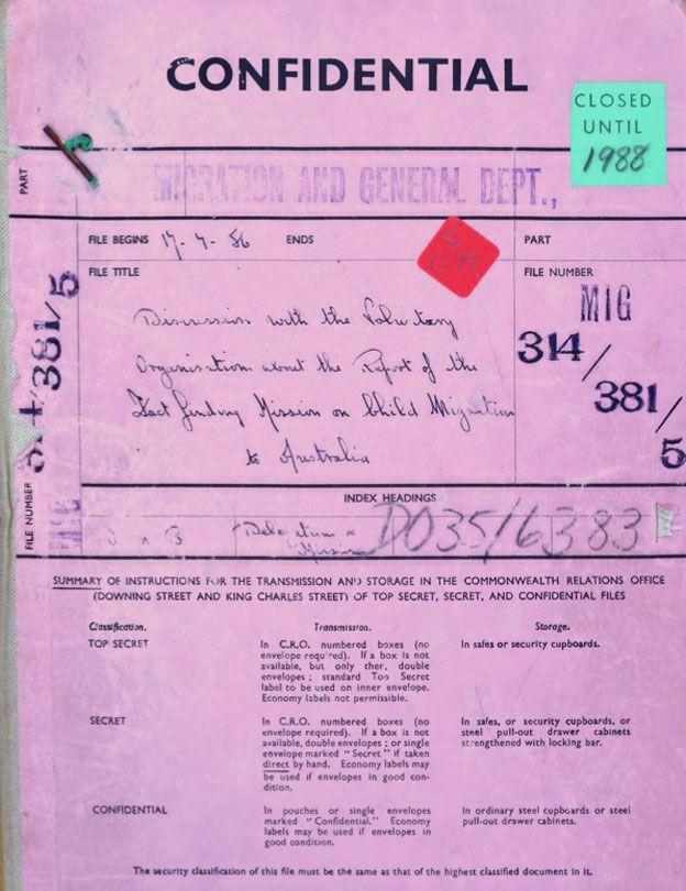 Un informe confidencial sobre migración infantil a Australia de 1956. NATIONAL ARCHIVES